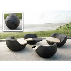5 Piece wicker patio set. Features rounded modern seat design, fabric padded seat cushion, and a round wicker table with a sturdy stainless steel base.  Table and 4 chairs fold up into an egg shape for both compact and aesthetic purposes. Put smaller chairs inside hollow big chairs that have removable seats, and put 1 big chair upside down on the other big chair with the table inside to complete the compact egg look.