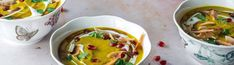 Golden Cauliflower Coconut Soup Pomegranate Molasses, Pomegranate Seeds, Coconut Soup, Toasted Coconut, Cooking Together, Fresh Ginger, 4 Ingredients, Soup Recipes, Cauliflower