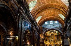 Golden interior of Church of La Compañía