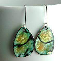 Enameled Copper Earrings Sgraffitto Rustic Earrings by MyBrownWren, $79.00