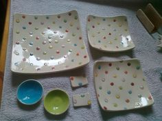 meine erste Sushigarnitur Clay, Plates, Ceramics, Tableware, Clays, Licence Plates, Ceramica, Dishes, Pottery