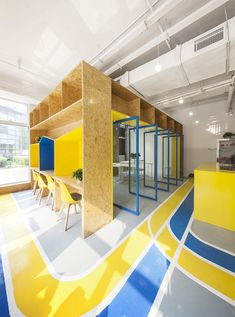 MAT office creates flexible coworking space in beijing – Best Office Architecture Open Office, Cool Office, Office Floor, Small Office, Colorful Interior Design, Office Interior Design, Colorful Interiors, Office Designs, Coworking Space