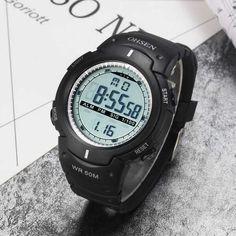 Ohsen digitális sport karóra szilikon szíjjal. A fekete óra fehér jelölésekkel díszítve. Watches, Sports, Hs Sports, Wristwatches, Clocks, Sport