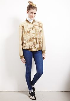 Ancient Egypt theme printed beige bomber jacket Ancient Egypt theme printed beige bomber jacket. Light and summery. Two pockets with zips on each side. Beautiful detail on the buttons. Subtle shoulder pads. HMC Hucke Mode Collection. Polyester mixed with nylon.