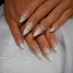 Nail art Christmas - the festive spirit on the nails. Over 70 creative ideas and tutorials - My Nails Acrylic Nail Designs, Nail Art Designs, Acrylic Nails, Bride Nails, Wedding Nails, Cute Nails, Pretty Nails, Nail Manicure, Nail Polish