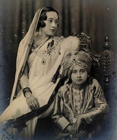 Mother & Son (labelled as Moha Bhakta Laxmi and Rudra, 18.5.1933). They are probably Nepalese royalty