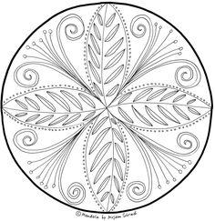 Intuitiv gemaltes Blumen Mandala zum Ausdrucken für Erwachsene kostenloser Download