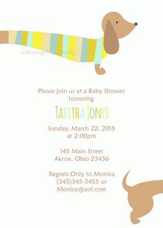Dachshund Dog Baby Shower Invitation