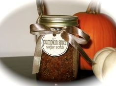 Homemade body scrub.  This one is pumpkin spice but any oil would work!  Add the oil slow, you might not need it all, and DON'T USE OLIVE OIL, it's scent can be overpowering.