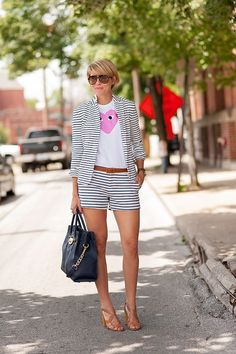 cute tee with striped short suit..