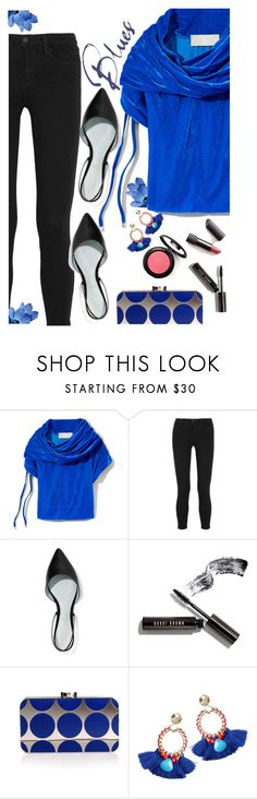 """Blue Velvet"" by juliehooper ❤ liked on Polyvore featuring Monse, L'Agence, Marc Jacobs, Bobbi Brown Cosmetics, Manolo Blahnik, black, Blue, velvet and polyvoreeditorial"