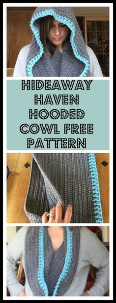 Free crochet pattern for gorgeous Hideway Haven hooded cowl. It can be worn as a hooded cowl or turned around and worn as an infinity scarf!