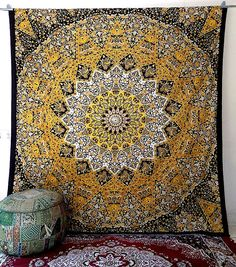 yellow mandala star hippie tapestry psychedelic large wall hanging boho bohemian bedspread bedding ceiling throw ethnic home decor