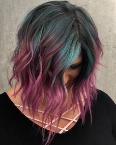 10 Creative Hair Color Ideas for Medium Length Hair, Medium Haircut Frisuren, Medium Hair Color Ideas, Shoulder Length Hairstyle for Female in Hair Color Pink, Hair Dye Colors, Cool Hair Color, Purple In Brown Hair, Oil Slick Hair Color, Vivid Hair Color, Bright Hair Colors, Lilac Hair, Colours