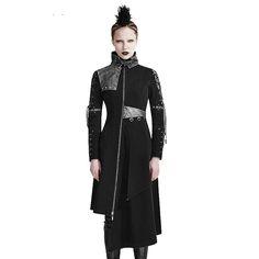 Punk Spring Women jacket Coat Gothic Asymmetirc Hem Leather Outwear Long Jackets