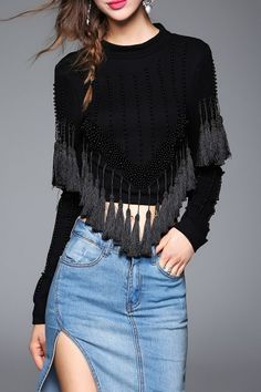 Blueoxy Black Beaded Cropped Tassel Sweatshirt | Sweatshirts at DEZZAL