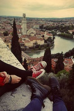Relaxing couple love cute couples sky city water outdoors shoes feet buildings