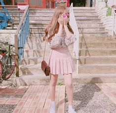 Image about ulzzang in ⚠ by monse on We Heart It Cute Fashion, Skirt Fashion, Fashion Outfits, Japanese Fashion, Asian Fashion, Pink Outfits, Cute Outfits, Looks Kawaii, Ulzzang Korean Girl
