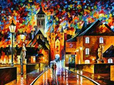 Night In The Old City  PALETTE KNIFE Landscape by AfremovArtStudio