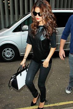 Selena Gomez black on #black...#leather t-shirt