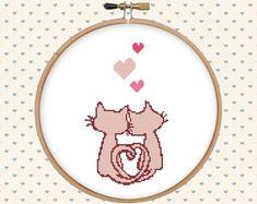 Love cat cross stitch pattern pdf  instant by GentleFeather