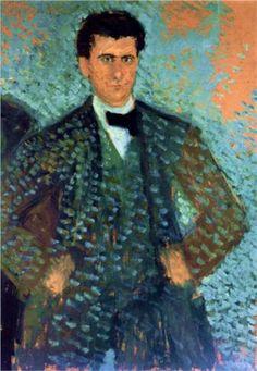 Self-portrait with Blue Spotted Background - Richard Gerstl, 1907