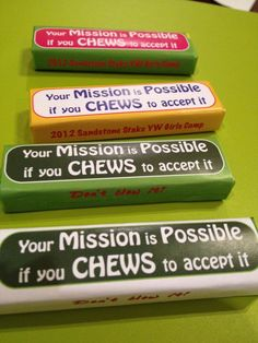 """Great for asking people to accept positions! Amason Gum for Girls Camp """"Mission Possible"""" Pillow Treats, Mission Possible, Church Activities, Elderly Activities, Scout Activities, Indoor Activities, Summer Activities, Family Activities, Spy Party"""