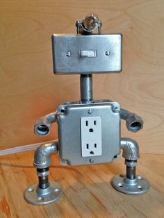 Robot Lamp head light by JosephBarral on Etsy