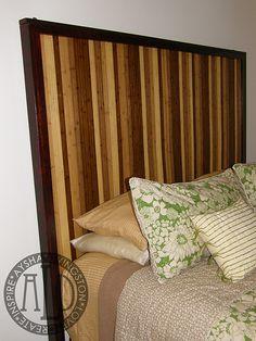 Bamboo Headboard - aydaycreatives.com - wood headboard, bamboo rug glued on mdf, long strips of stained pine around edge
