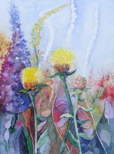 Sommer im Garten (c) Aquarell von FRank Koebsch #Aquarell #Disteln