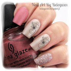 Nail Art by Belegwen: China Glaze Digital Dawn, Essence New York City Call (OPI Matte Top Coat) and Perfect Sand Lacquer s78.