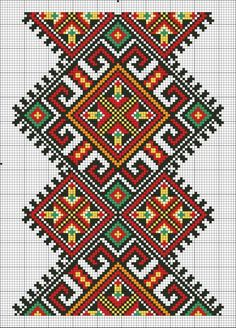 Cross stitching , Etamin and crafts: Traditional cross stitch Pattern Towel Embroidery, Folk Embroidery, Cross Stitch Embroidery, Embroidery Patterns, Cross Stitch Designs, Cross Stitch Patterns, Motifs Textiles, Palestinian Embroidery, Pixel Pattern