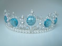 Crystal and Pearl Turquoise Princess Tiara by CreativeCalling1