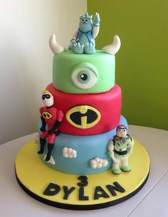 Disney Cake - Sully, Buzz & Mr Incredible