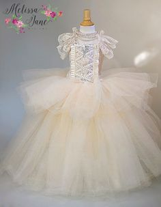 Princess Champagne Girls Tulle Exquisite Dress