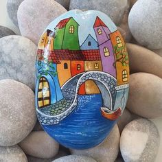 Bridge painting, house on the rock, punch art, pebble painting, painting on Pebble Painting, Pebble Art, Stone Painting, Painted Rocks Craft, Hand Painted Rocks, Painted Stones, Rock Painting Ideas Easy, Rock Painting Designs, Stone Crafts