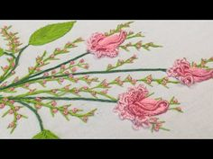 Ana Sayfa - YouTube Diy Embroidery Patterns, Hand Embroidery Art, Flower Embroidery Designs, Beaded Embroidery, Types Of Stitches, Embroidery For Beginners, Crochet Flowers, Needlework, Youtube