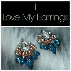 "Colorful earrings NWOT Add some color to your favorite outfit with this matching earrings! Featuring complementary color combo of blue, light pink and clear rhinestones on a silver tone metal.   Brand new.  Silver tone metal.  Hook style.  Approx. 2.5"" long hypoallergenic Jewelry Earrings"