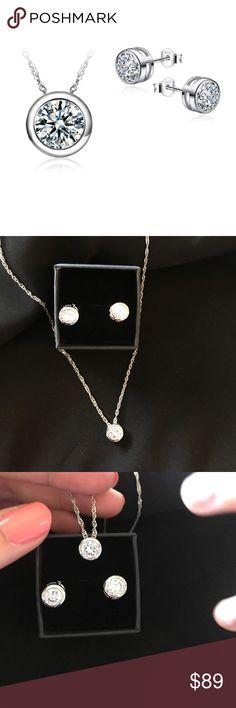 New CZ diamond necklace earrings set New CZ diamond necklace earrings set. Very beautiful. Comes with black box. Jewelry Necklaces