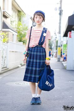 Striped Muji Top & Plaid Skirt http://tokyofashion.com