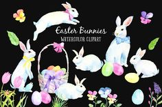 Watercolor Easter Bunny White Rabbit by Corner Croft on @creativemarket