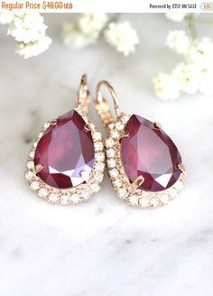 Ruby Earrings, Marsala Earrings, Bridal Ruby Earrings, Swarovski Ruby Earrings, Ruby Swarovski Drop Earrings, Bridesmaids Earrings.
