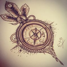 "Basically exactly what I want, but in black, no splatters around the compass, and pink roses at the top instead of the feathers. And a couple unopened roses on the compass  Ill have a quote going around it that'll say ""your heart will always lead you home"""