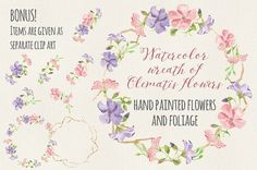 Watercolor floral wreath - Clematis by Lolly's Lane Shoppe on @creativemarket