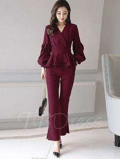 Tbdress.com offers high quality Puff Sleeve V-Neck Patchwork Women's Pants Suit Pants Suits unit price of $ 37.99.