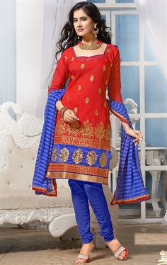 Picture of Ravishing Red and Blue Color Cotton Churidar Kameez
