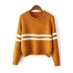 SheIn(sheinside) Yellow Round Neck Striped Crop Knit Sweater (58.425 COP) ❤ liked on Polyvore featuring tops, sweaters, yellow, long sleeve pullover sweater, loose crop top, striped sweater, crop top and long sleeve sweaters