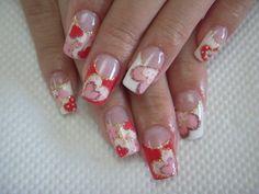 heart kawaii nails  LOVE!