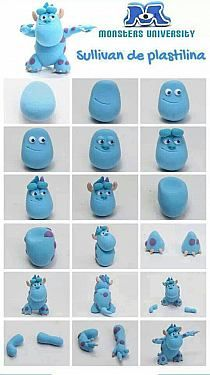 DIY turquoise Minsters Inc Sullie clay model. Could use fondant too! Crea Fimo, Fimo Clay, Polymer Clay Charms, Polymer Clay Projects, Polymer Clay Creations, Clay Crafts, Fondant Animals, Clay Animals, Fondant Figures