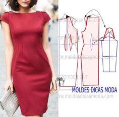 A elegância não tem que estar associada a modelos muito elaborados, por essa razão hoje proponho este modelo de vestido vermelho que tem formas simples mas